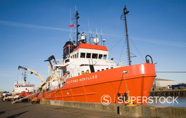Stock Photo: 1566-1094975 Putford Achilles North Sea supply vessel, River Yare, Great Yarmouth
