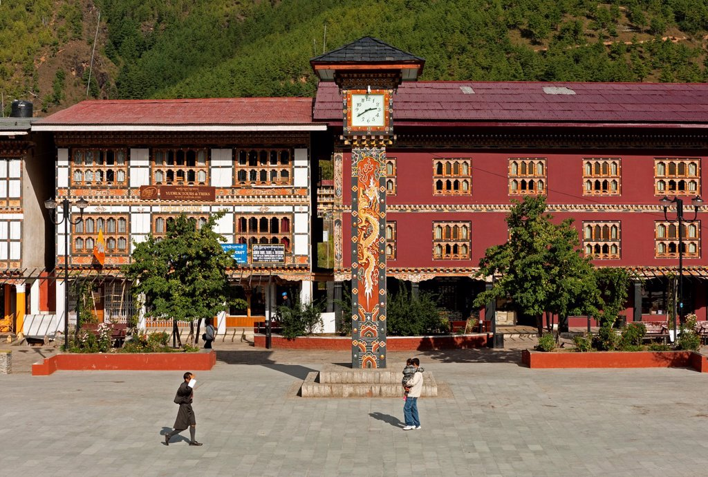 Stock Photo: 1566-1095409 The central square with the clock tower in Thimphu, Bhutan