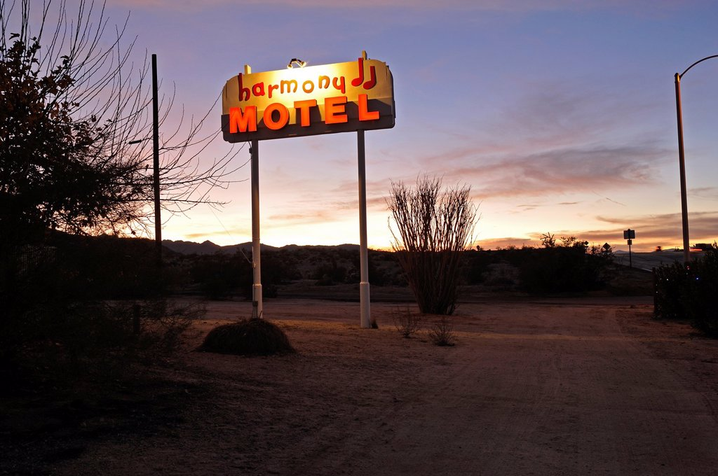 Harmony Motel, 29 Palms, Mojave Desert, California, USA : Stock Photo