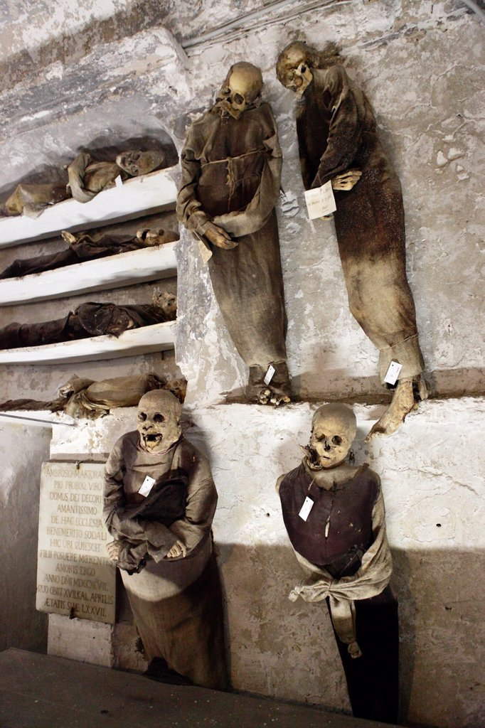 Stock Photo: 1566-1095869 Capuchin catacombs of Palermo, Sicily, Italy