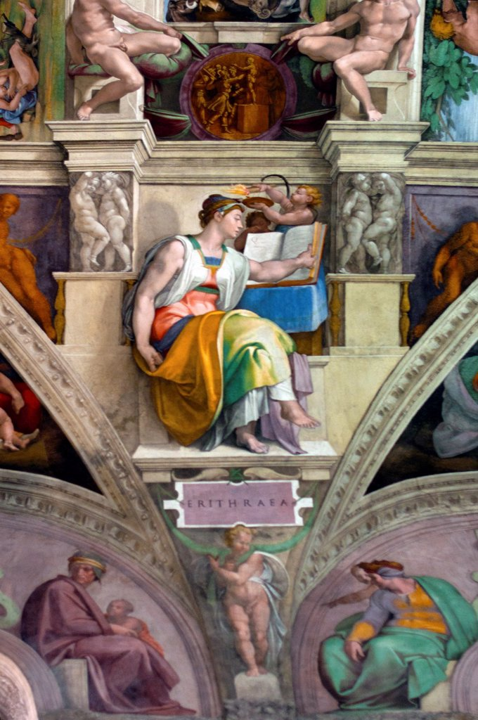 Stock Photo: 1566-1096000 Michelangelo´s frescoes on Ceiling of the Sistine Chapel, Sybils - Erithraea, Vatican Museum, Rome, Italy