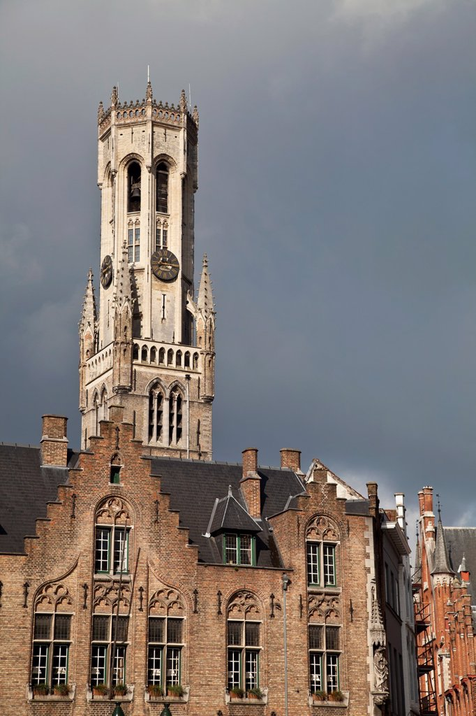 Stock Photo: 1566-1096201 View of Belfort tower from Burg, one of the best places to see about medieval Bruges
