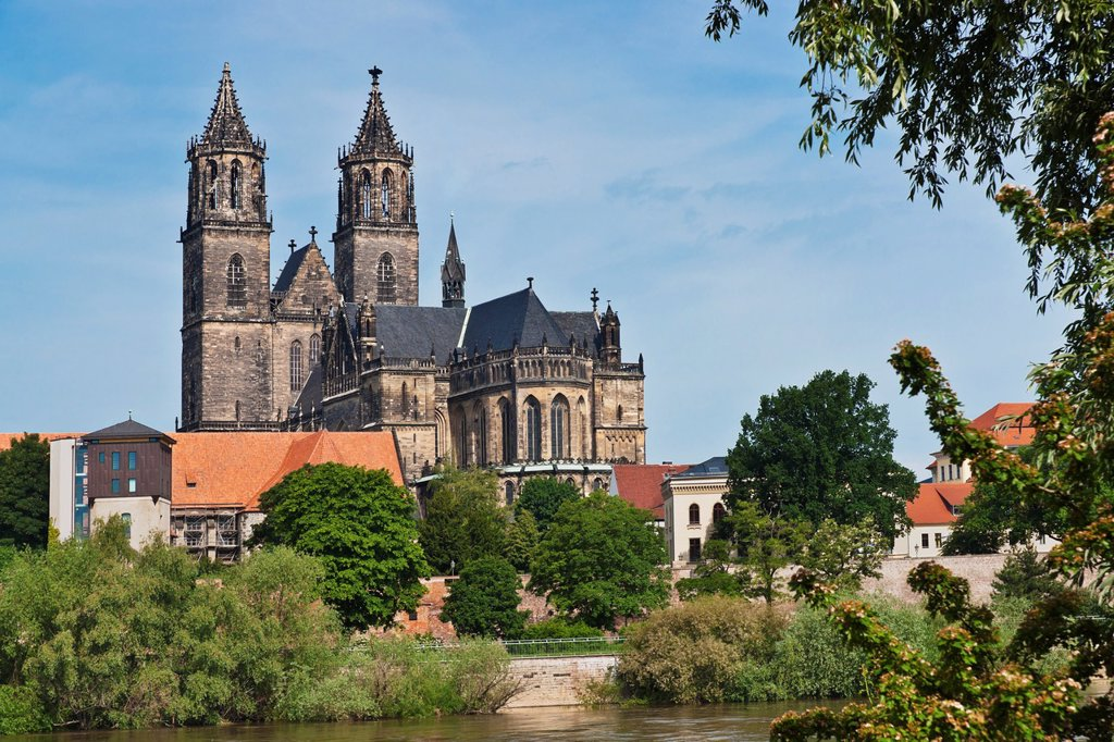 Stock Photo: 1566-1096413 View over the Elbe-River to the Cathedral of Magdeburg The Protestant Cathedral of Magdeburg, officially called the Cathedral of Saints Catherine and Maurice is one of the oldest Gothic cathedrals in Germany It is the proto-cathedral of the former Prince-. View over the Elbe-River to the Cathedral of Magdeburg The Protestant Cathedral of Magdeburg, officially called the Cathedral of Saints Catherine and Maurice is one of the oldest Gothic cathedrals in Germany It is the proto-cathedral of the fo