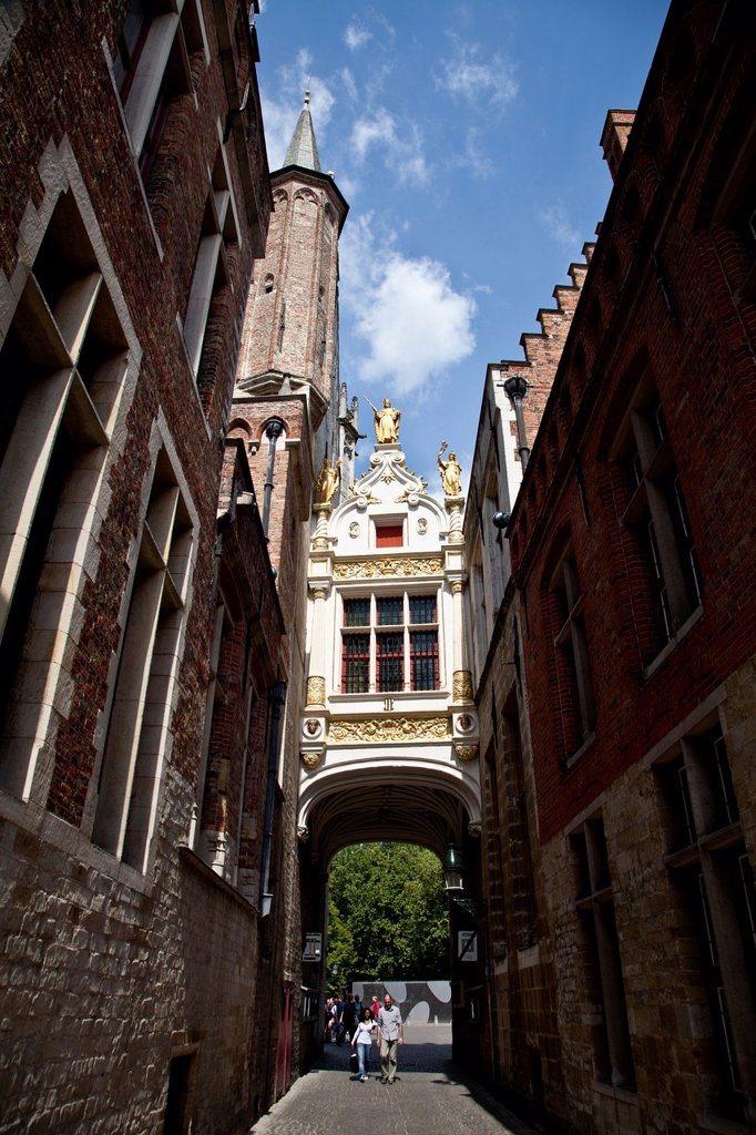 Stock Photo: 1566-1096597 City Blind Donkey Street, Blinde Ezelstraat, in the downtown of Bruges, Flanders, Belgium