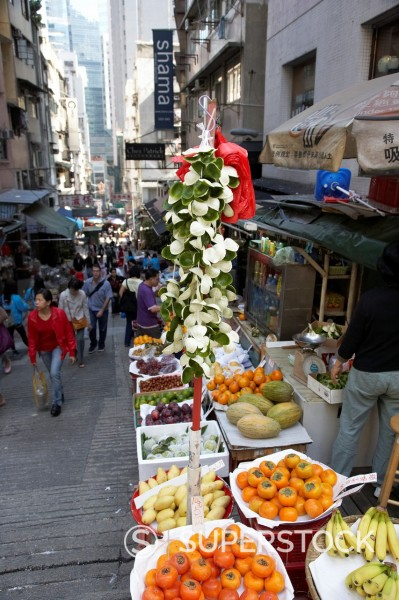 Stock Photo: 1566-1096775 fruit street stall on steep peel street market hong kong hksar china asia