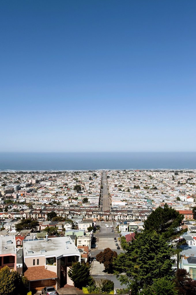 Stock Photo: 1566-1096997 View over the Sunset District and Pacific Ocean, San Francisco, California, USA