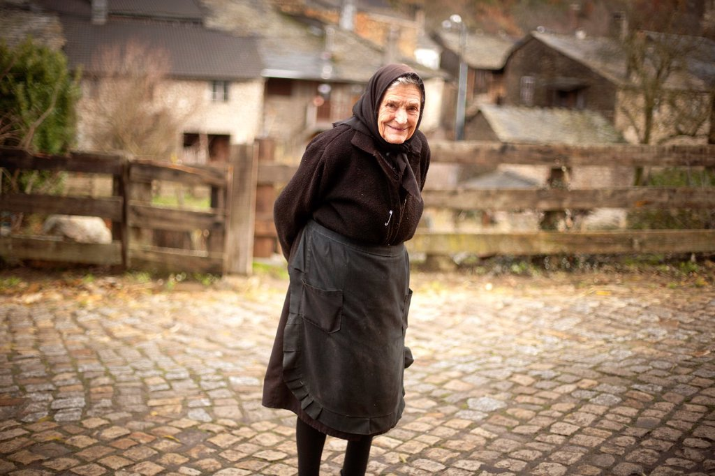 Old woman, Rio do Onor village, Portugal : Stock Photo