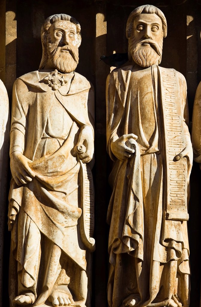 Statues of the Apostles in the main portal of the cathedral of Tarragona - Catalonia - Spain - Europe : Stock Photo