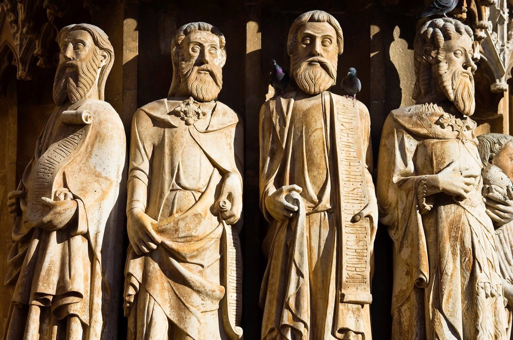 Stock Photo: 1566-1097163 Statues of the Apostles in the main portal of the cathedral of Tarragona - Catalonia - Spain - Europe