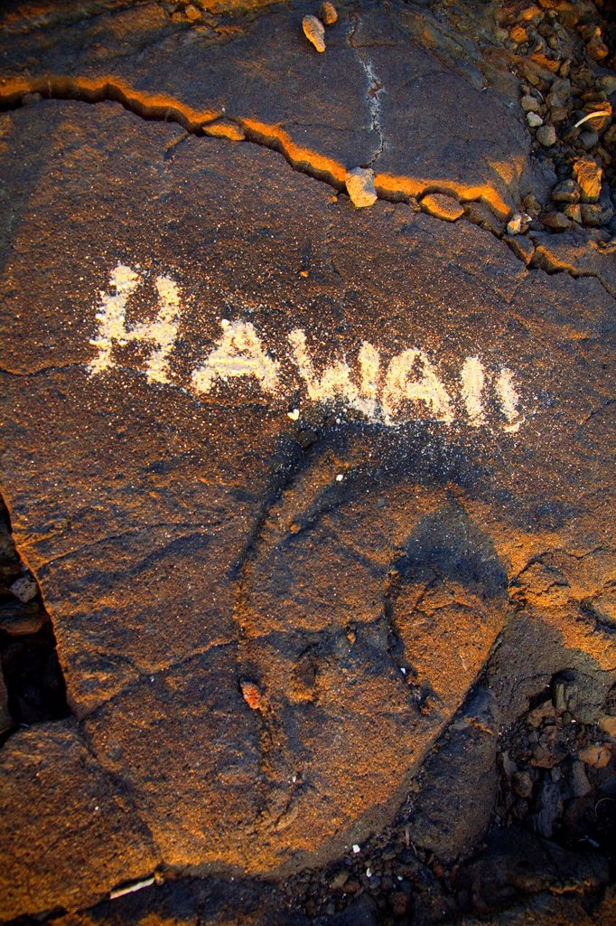 Stock Photo: 1566-1097213 Hawaii sign in sand on lava rock, Makalawena Beach, Kekaha Kai State Park, Kona, Island of Hawaii, Hawaii