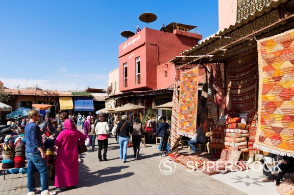 Stock Photo: 1566-1097232 The Cafe des Epices and carpet shop in Rahba Kedima Place des Epices, Medina, Marrakech, Morocco, North Africa