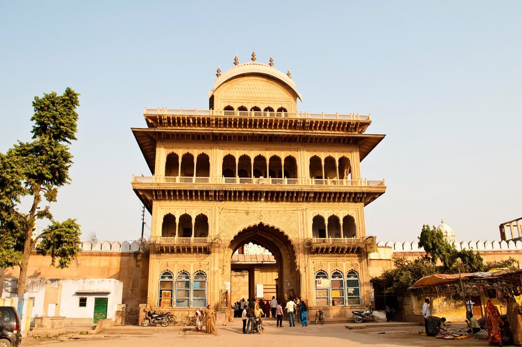 Stock Photo: 1566-1097696 Main Gate to Rangaji mandir, Vrindavan, India