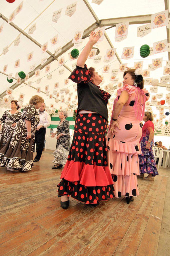 People dancing flamenco, April Fair, Barcelona. Catalonia, Spain : Stock Photo