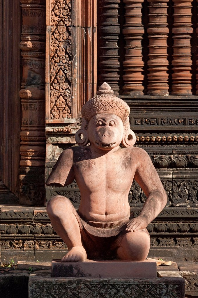 Stock Photo: 1566-1097938 Statue of the Hanuman deity as temple guardian, Banteay Srei temple, Citadel of the Women, Angkor, Cambodia