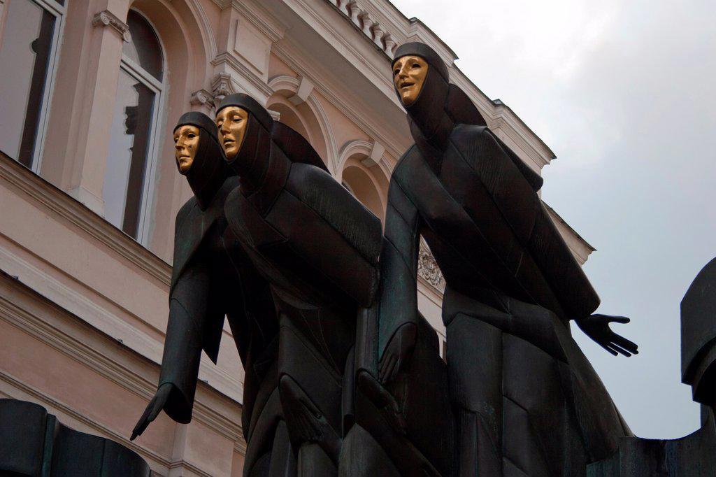 Stock Photo: 1566-1098046 Facade of the National Drama Theatre, Vilnius, Lithuania