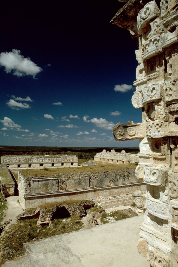 View of the Nuns´ Quarters from atop the Pyramid of the Magician, Uxmal, Yucatan, Mexico : Stock Photo