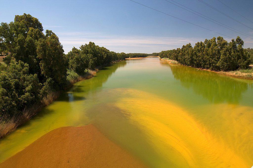 Stock Photo: 1566-1098069 Pollution Odiel river, Gibraleon, Huelva-province, Spain