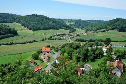 Panoramic outlook from the viewpoint to the Castle's ascent, Riegersburg, Styria, Austria : Stock Photo