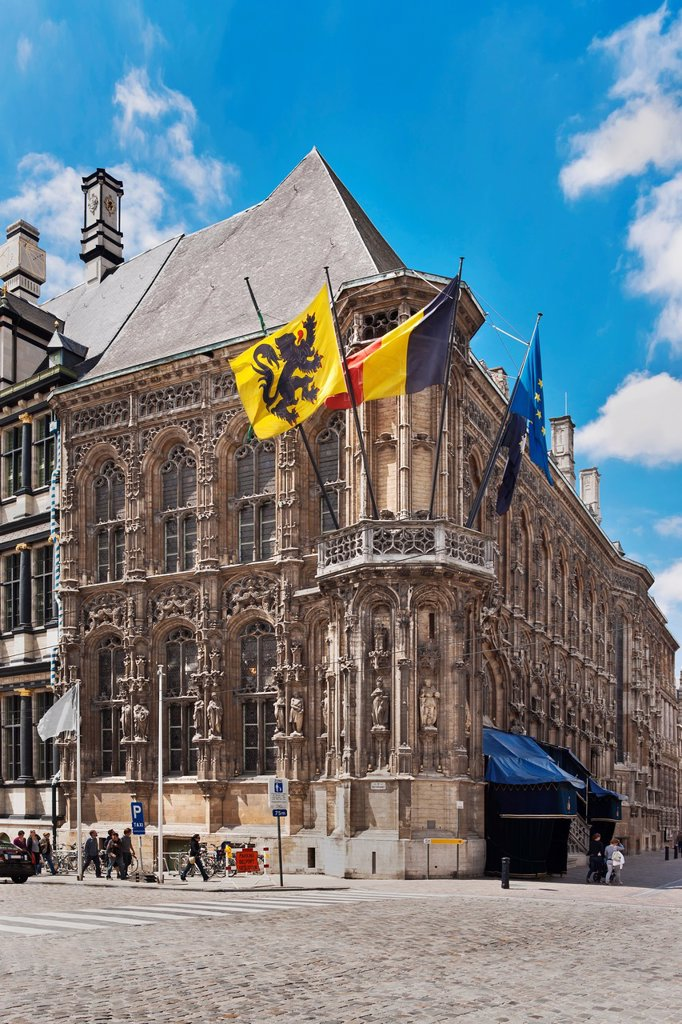 Gothic part of the town hall ´Stadhuis´, Ghent, Belgium, Europe : Stock Photo