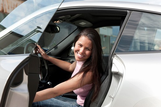 Woman in a sport car. : Stock Photo