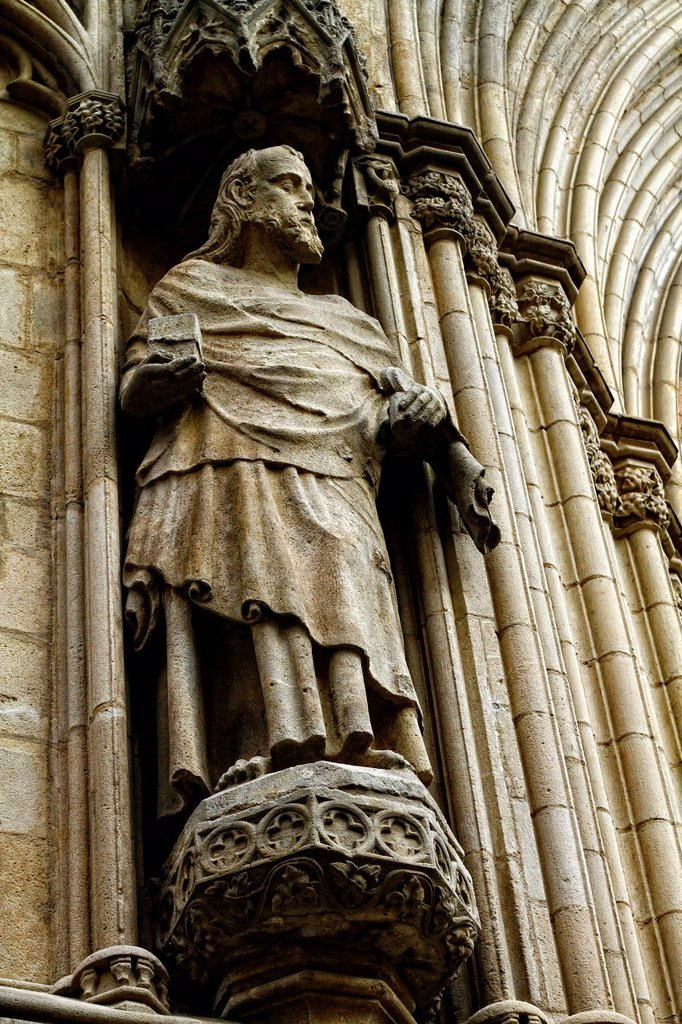 Stock Photo: 1566-1099214 Facade detail, Santa Maria del Mar Cathedral, built between 1329 and 1383, Barcelona, Catalonia, Spain