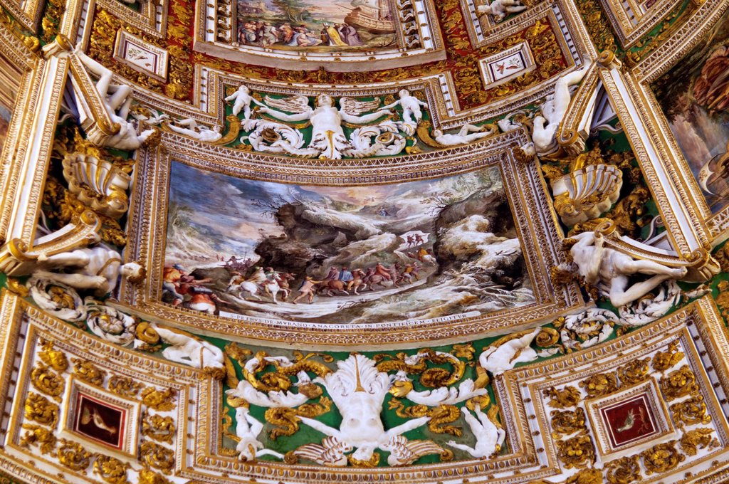 details of one of ceilings in Vatican Museum, Vatican : Stock Photo