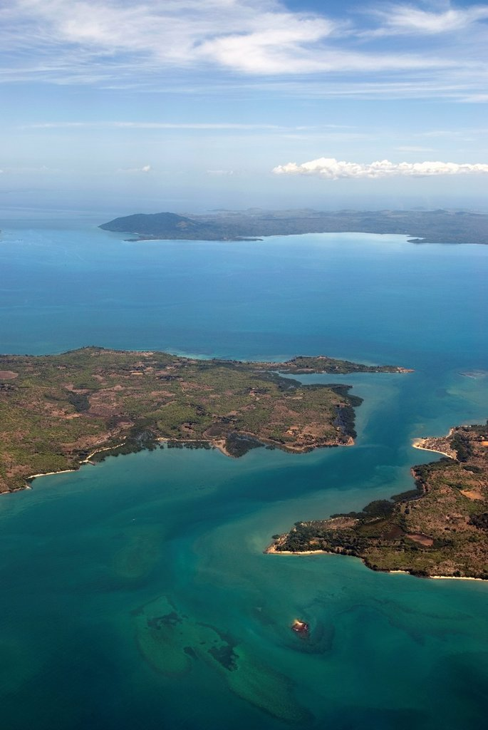 Stock Photo: 1566-1100405 aerial view over Ambato cape, Nosy Faly island and Nosy Be background, Republic of Madagascar, Indian Ocean