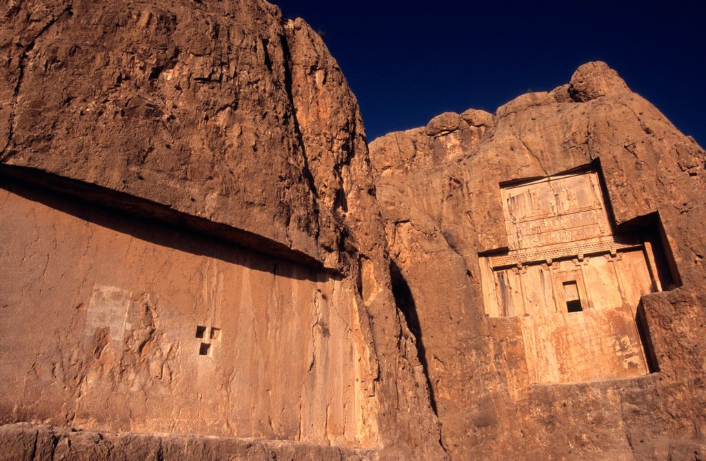The tombs of the kings in the Naqsh-e Rostam necropolis near Persepolis, Iran : Stock Photo