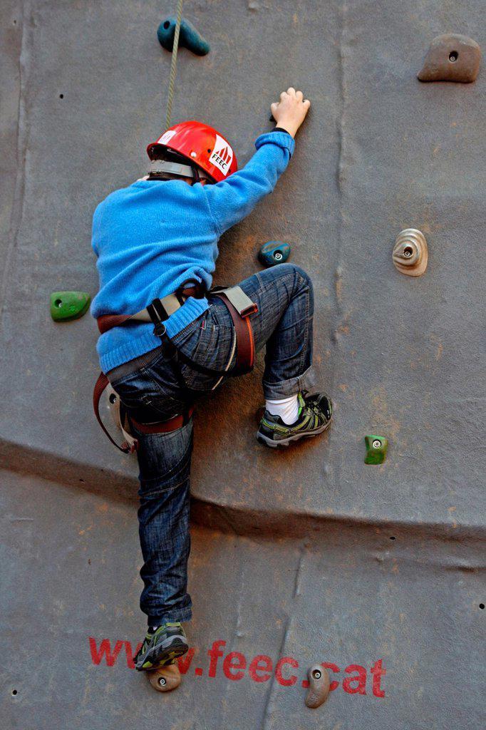 climbing wall, St  Antoni´12 celebration, Barcelona, Catalonia, Spain : Stock Photo