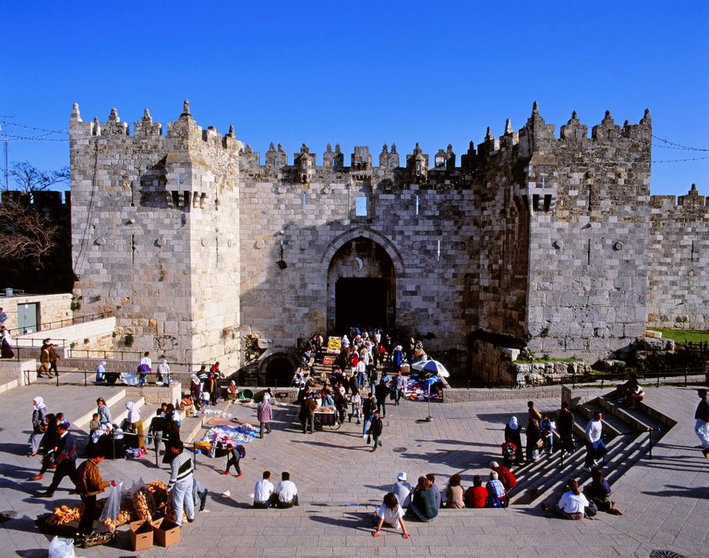 Stock Photo: 1566-1100575 Damascus Gate & Arab Market, Jerusalem, Israel
