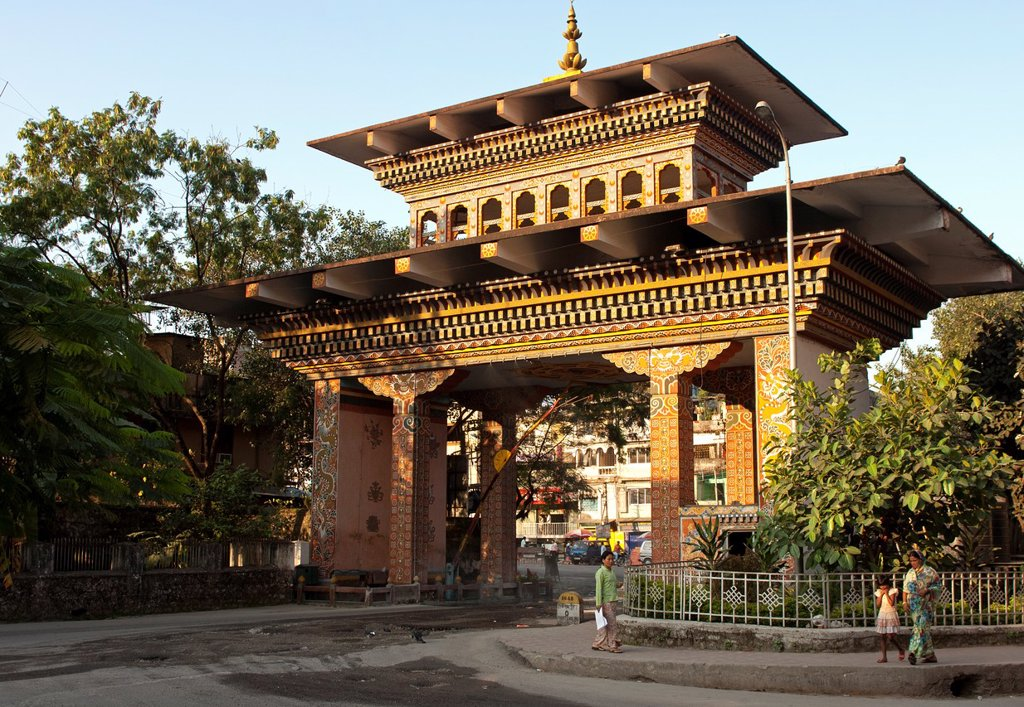 Stock Photo: 1566-1100818 The Gate of Bhutan at the border between Jaigoan, West Bengal, India, and Phuentsholing from the Bhutanese side, Phuentsholing, Bhutan