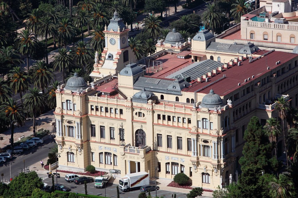 Stock Photo: 1566-1101396 Vista aerea del Ayuntamiento de Malaga, Spain, Europe