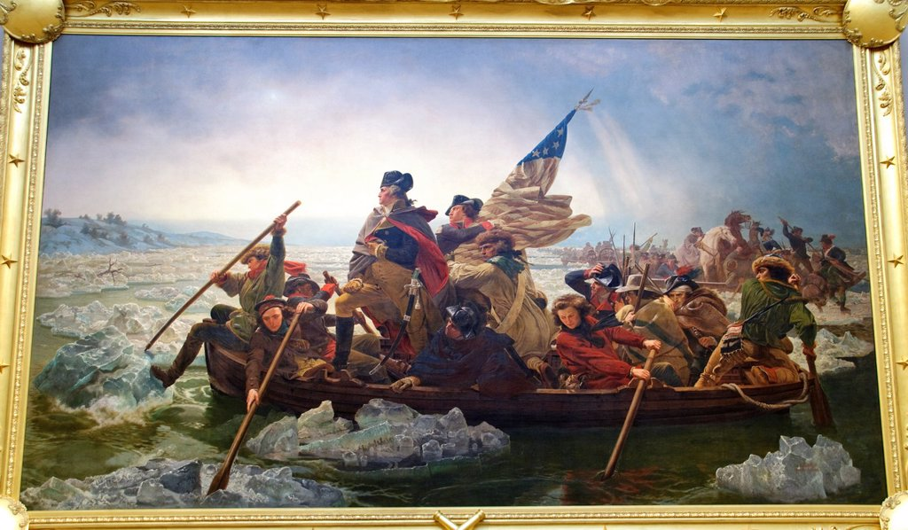 Stock Photo: 1566-1101680 Washington Crossing the Delaware, 1851, by Emanuel Leutze, American, Oil on canvas, 149 x 255 in , 378 5 x 647 7 cm, Metropolitan Museum of Art, New York City