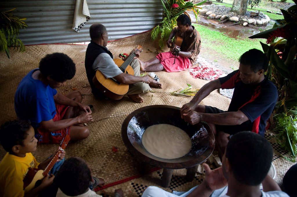 Kava ceremony, Vuniuto Village, Taveuni, Fiji : Stock Photo