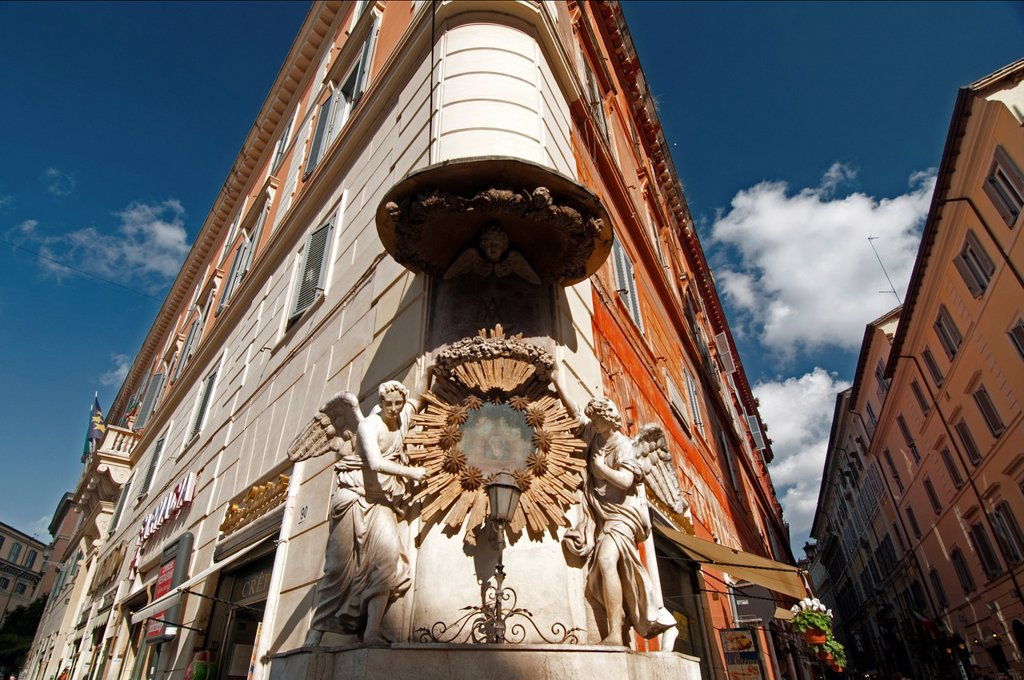 sacral details on buildings, Piazza di Trevi, old town of Rome, Italy : Stock Photo