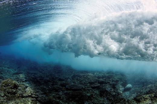 Stock Photo: 1566-1102327 Wave breaking on reef, seen from below the surface, Palikir Pass, Pohnpei, Federated States of Micronesia.