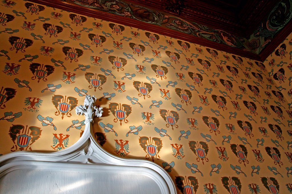 Stock Photo: 1566-1102810 coats of arms, heraldry, castle of Fels, Castelldefels, Catalonia, Spain