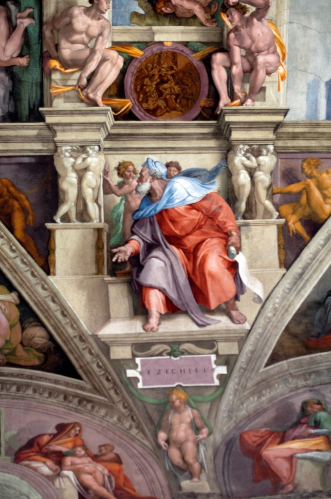 Stock Photo: 1566-1102892 Michelangelo´s fresco of Ezechiel one of Seven Prophets, Sistine Chapel, Vatican Museum, Rome, Italy