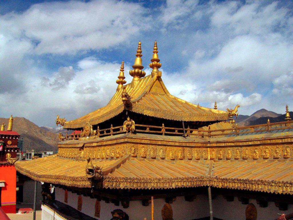 Gold roof Jokhang Temple Lhasa Tibet : Stock Photo