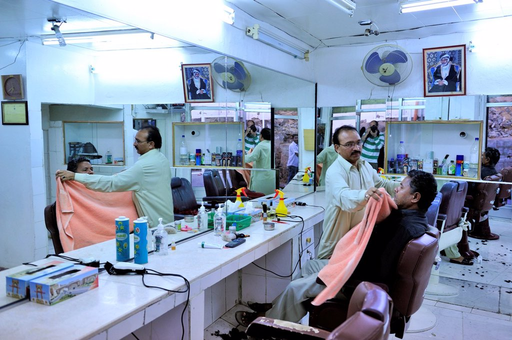 Stock Photo: 1566-1103223 Barber´s shop  Mutrah Souq  Muscat, Oman.
