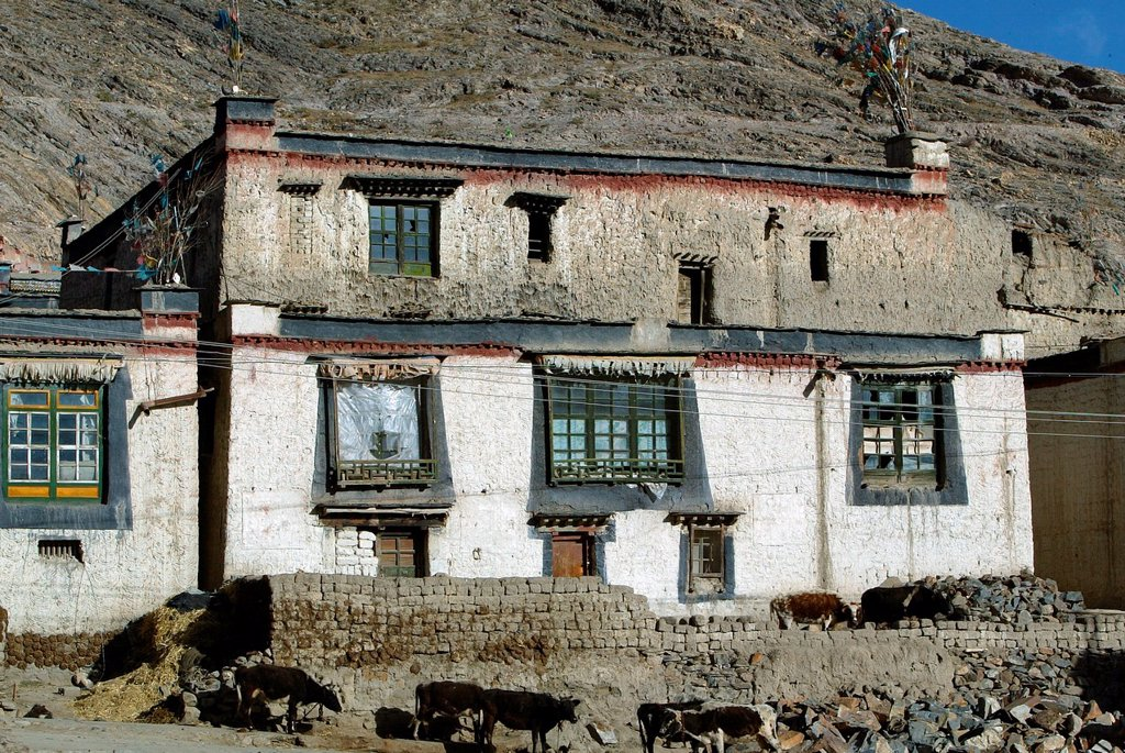 Traditional Tibetan building with white walls black window surrounds and prayer flags Gyantse Tibet : Stock Photo