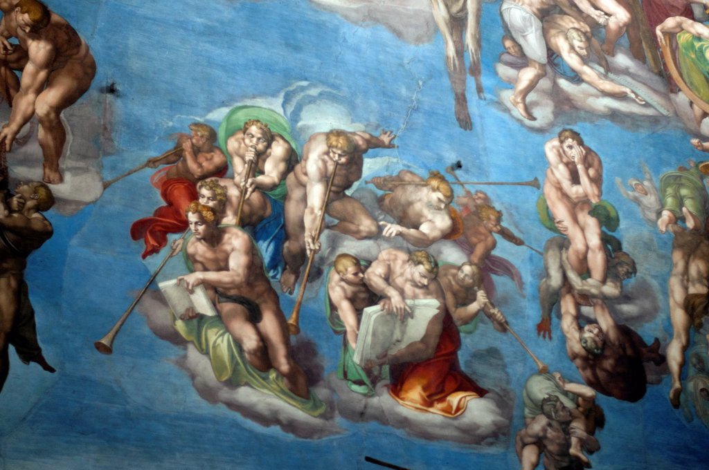 Stock Photo: 1566-1103677 details of Michelangelo´s most famous fresco The Last Judgement, Sistine Chapel, Vatican Museum, Rome, Italy