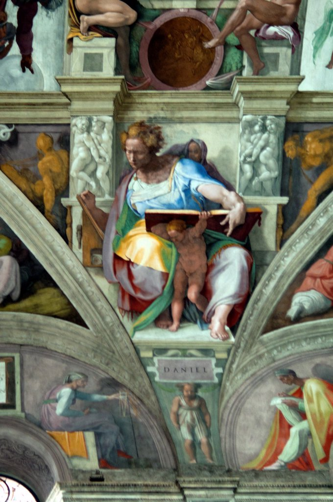 Stock Photo: 1566-1103678 Michelangelo´s fresco of Daniel one of Seven Prophets, Sistine Chapel, Vatican Museum, Rome, Italy
