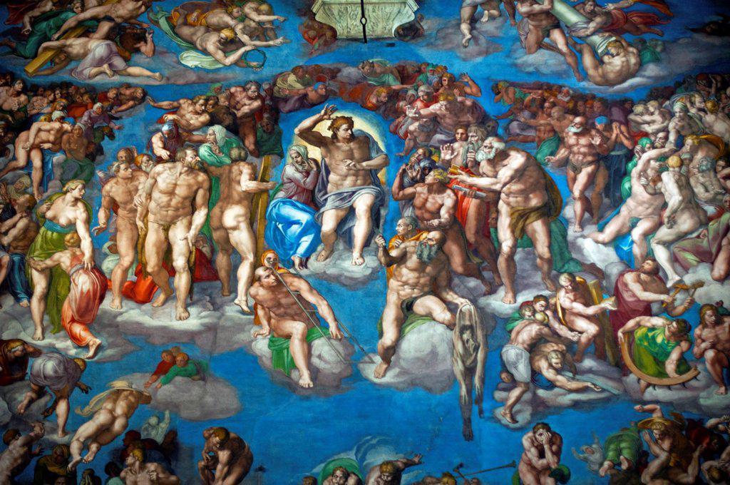 Stock Photo: 1566-1103680 Michelangelo´s ´Last Judgement´, Sistine Chapel, Vatican Museum, Rome, Italy