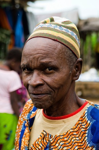 A colorful Muslim man in Benin : Stock Photo