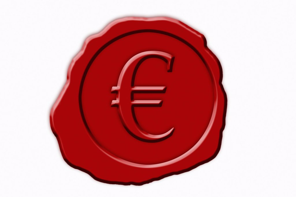Detail photo of a red seal with a Euro Symbol in the middle : Stock Photo