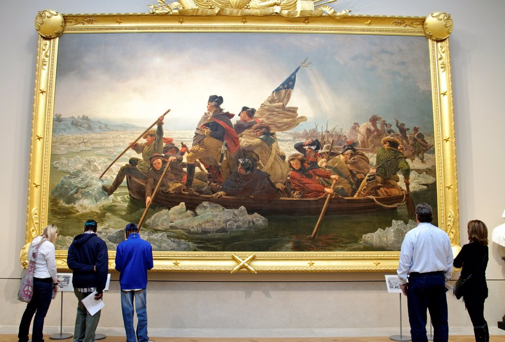 Stock Photo: 1566-1104455 The new American Wing Gallery, Washington Crossing the Delaware, 1851, by Emanuel Leutze, American, Oil on canvas, 149 x 255 in , 378 5 x 647 7 cm, Metropolitan Museum of Art, New York City