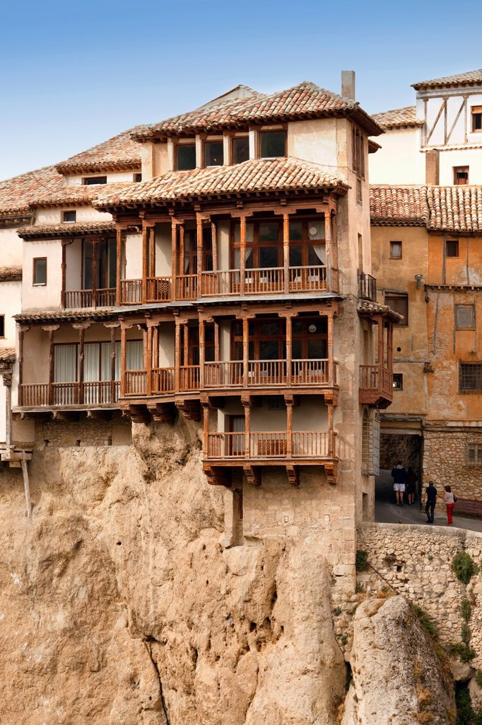 Stock Photo: 1566-1104517 Las Casas Colgadas, or The Hanging Houses, which now house the Museum of Spanish Abstract Art  Cuenca, Cuenca province, Castilla-La Mancha, Spain  Cuenca is a UNESCO World Heritage Site
