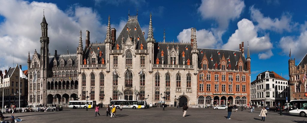 Stock Photo: 1566-1104553 Market Square with the Provinciaal Hof The Provinciaal Hof is an monumental neo-Gothic building from the 19th century It is currently the seat of government of West Flanders Bruges, Belgium, Europe