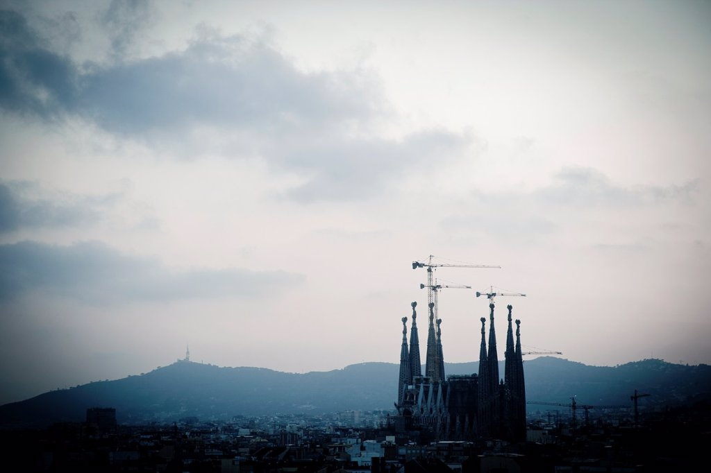 Stock Photo: 1566-1105078 View of Sagrada Familia Church by Antoni Gaudi, one of the most important constructions of Modernism Style, Barcelona, Catalonia, Spain